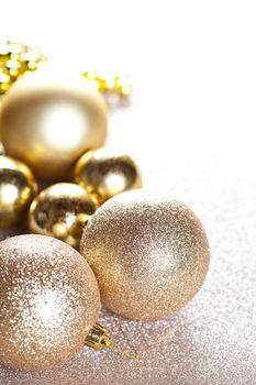 Christmas golden glitterdecorations.
