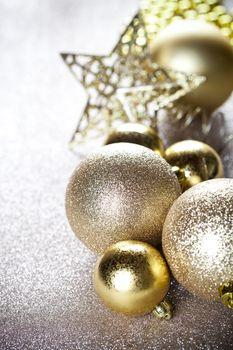Christmas golden decorations.
