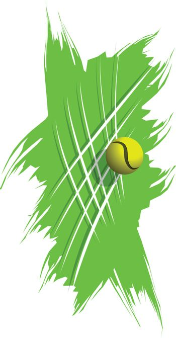 Stock Illustration Tennis Ball on Abstract Background and Grid