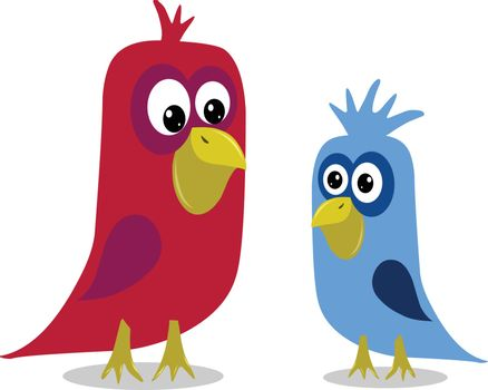 Stock Illustration Two Cartoon Birds on a White Background