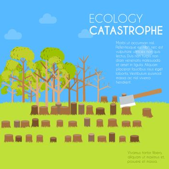 issue deforestation illustration design background. Template for website and mobile appliance concept.