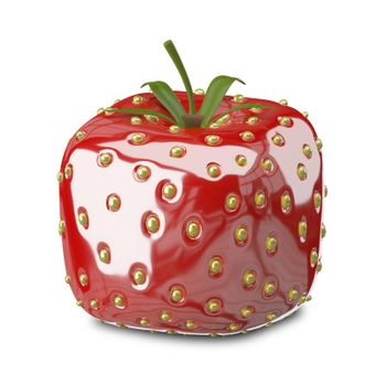3D Illustration Square Strawberry on a White Background