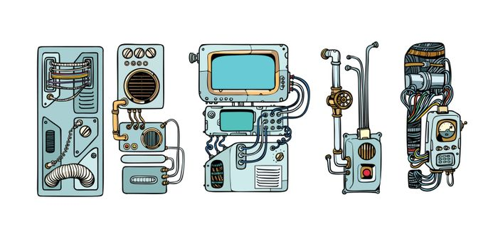 Cyberpunk robots mechanisms and machines. Details of the spacecr