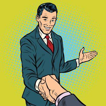 businessman handshake, partnership and cooperation
