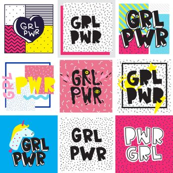 Typography colorful slogan Girl Power text, decoration. GRL PWR short quote, simple cute illustration for Print Bag Sticker Clothing Laptop Phone Wall everywhere. Modern feminist picture, tattoo trend