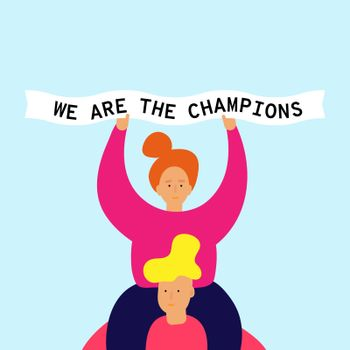 Smiling girl sits on shoulders of guy and holds in hands a ribbon. Text We are the champions. Football chant. Vector Web banner Ad Poster Greeting card with easy editable shapes objects