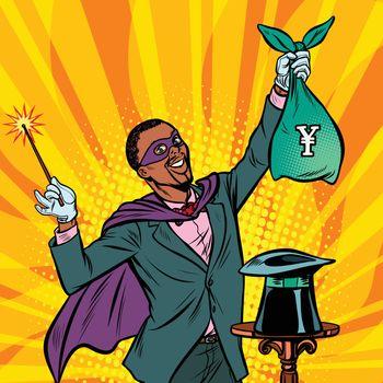 African Magician with yen money