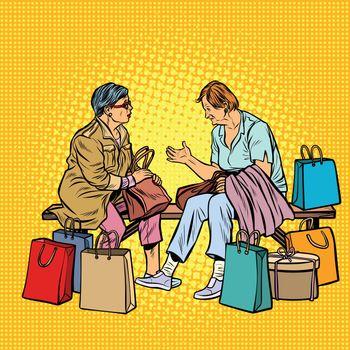 Older women girlfriends shopping. Pop art retro vector illustration vintage kitsch