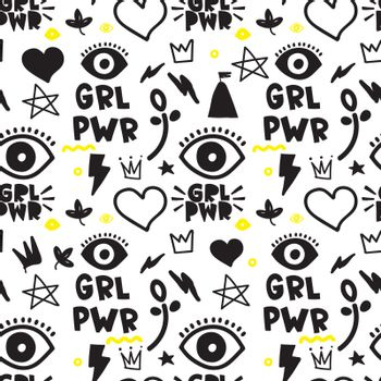 Universal trend hand drawing seamless pattern. Trendy doodles shapes juxtaposed with bright bold elements composition. Design for Magazine Leaflet Billboard Sale Advertisement Stickers Wall everywhere