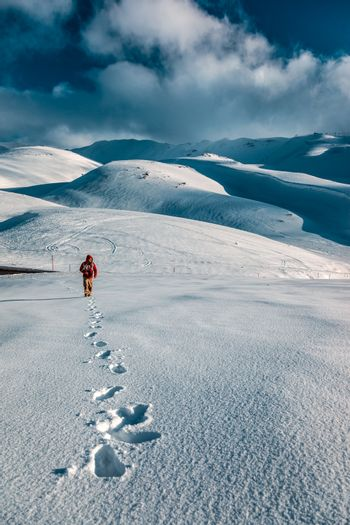 Man in the snowy mountains
