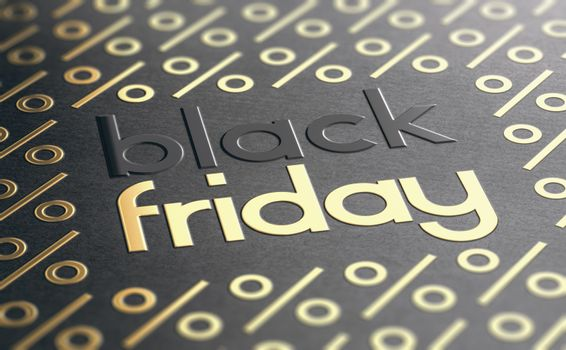 Text Black Friday embossed on paper texture with golden percent symbols. Sale event background. 3D illustration.