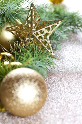 Christmas decorations and evergreen fir tree.