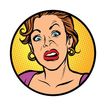 Symbol icon. Woman with a funny surprised face. Comic cartoon pop art retro vector illustration drawing