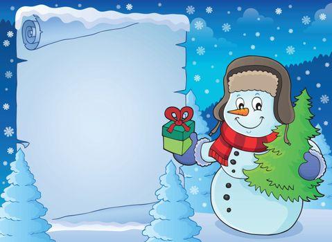 Christmas snowman subject parchment 2