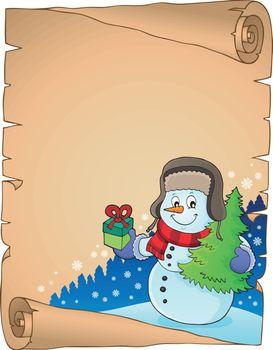 Christmas snowman subject parchment 3