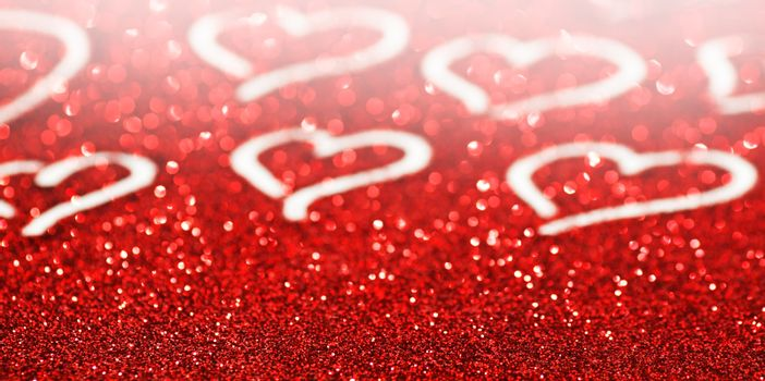 Glitter background with hearts