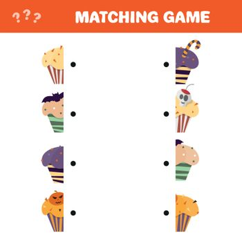Matching game. Educational children activity with Halloween cupcakes - Cartoon Illustration of Preschool Education Activity with Matching Halves Game