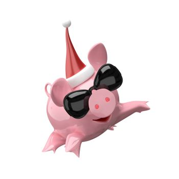 3D Illustration Jumping New Year Pig on White Background
