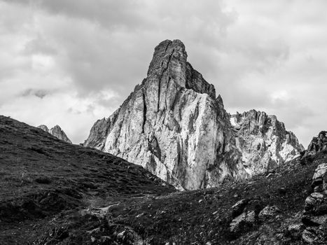 Passo Giau with Mount Gusela on the background, Dolomites, or Dolomiti Mountains, Italy