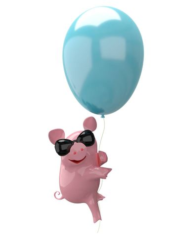 3D Illustration of a Pig in Balloon Glasses on White Background