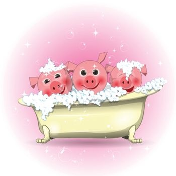Stock Illustration Three Merry Pigs in the Bathroom