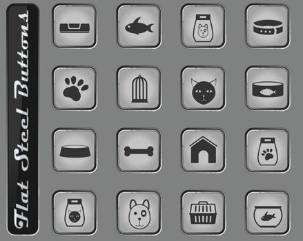 goods for pets vector web icons on the flat steel buttons