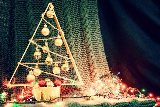 background with small handmade christmas tree. photo