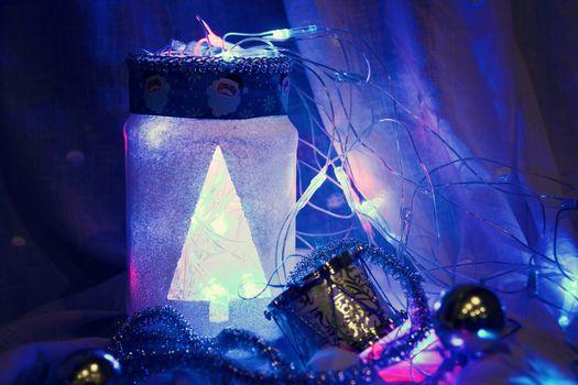 christmas background with handmade lamp. photo