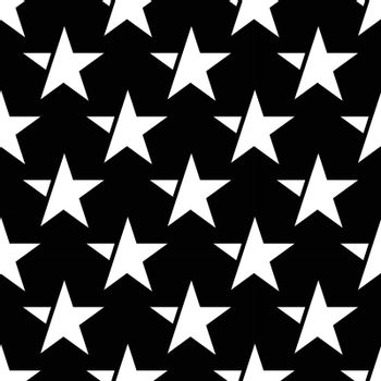 black seamless pattern with white star. vector