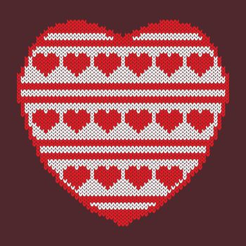 Valentines Day. Knitted texture in the shape of a heart. Pattern of hearts and stripes. White and red