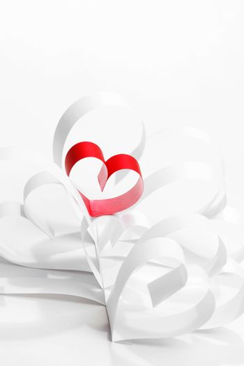 Red and white paper hearts composition, Valentines day concept