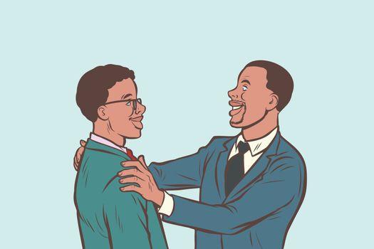 African businessmen friendly meeting