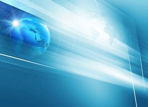 Big flat tv screen with 3d earth globe blue theme background. 3d Illustration
