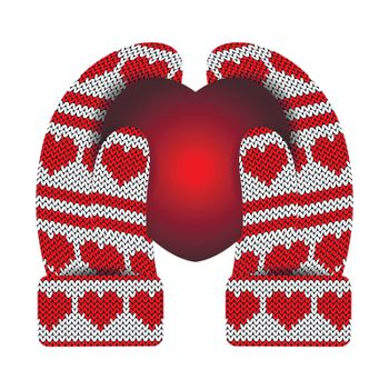 Valentines Day. Hands in knitted mittens hold a luminous heart. Knitting Pattern of hearts and stripes. White and red.