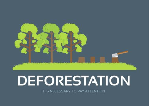 issue deforestation in flat design background concept. Ecological natural problem. Icons for your product or illustration.