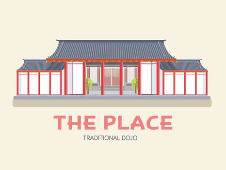 Country Japan travel vacation of place and feature. Set of architecture, item, nature background concept. Infographic traditional ethnic flat, outline.