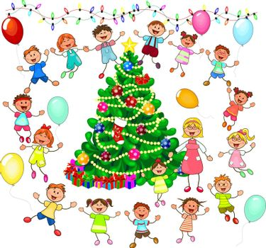 Joyful little children and a teacher near the Christmas tree. Children near the Christmas tree celebrate Christmas. A group of children with a teacher. A group of cheerful, smiling children on a white background.