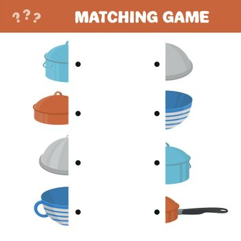 Matching game for kids. Find the right pair for each part, children educational game
