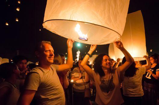 CHIANG MAI THAILAND-OCTOBER 16 : Loy Krathong festival. Unidenti