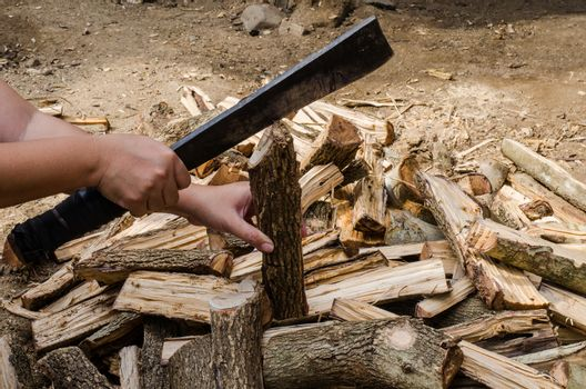Holding a knife to cut firewood