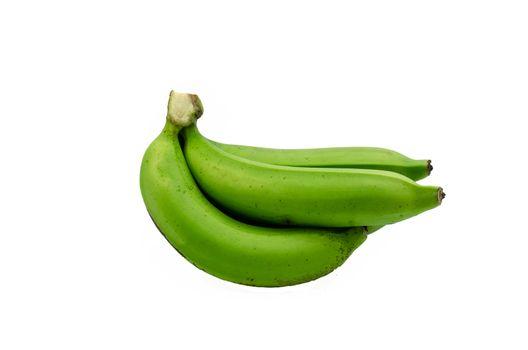 green banana bundle on a white background