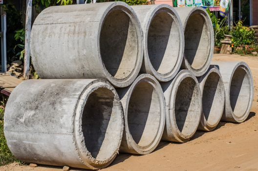Cement pipes stacked