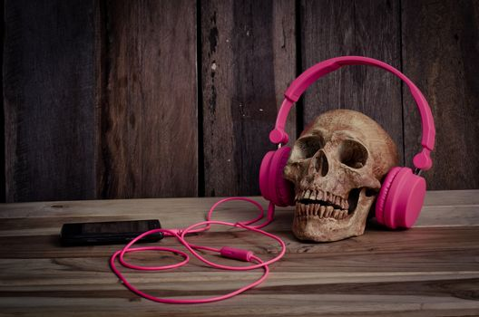 Still life human skull model with pink headphones on wooden background