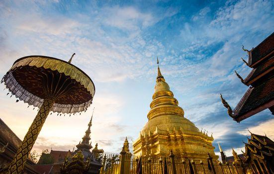 Pagoda in Wat Phra Haripunchai Lamphun, Thailand Buddhist major public attraction