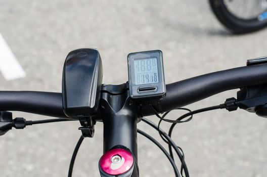 Components of the bicycle headlight and speedometer.