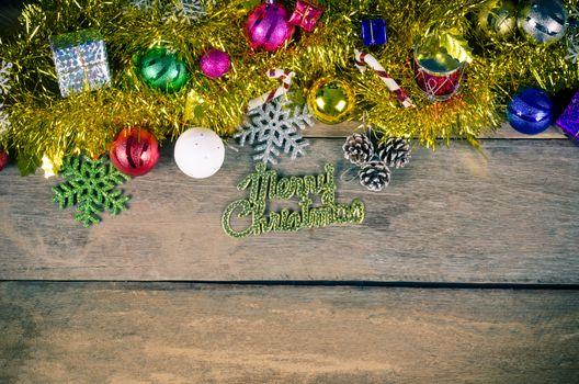 Christmas Border on wood - tone vintage