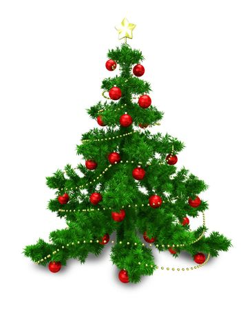 3D Illustration of Christmas Fir with Red Balls on White Background