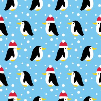 seamless pattern with many small penguins. vector