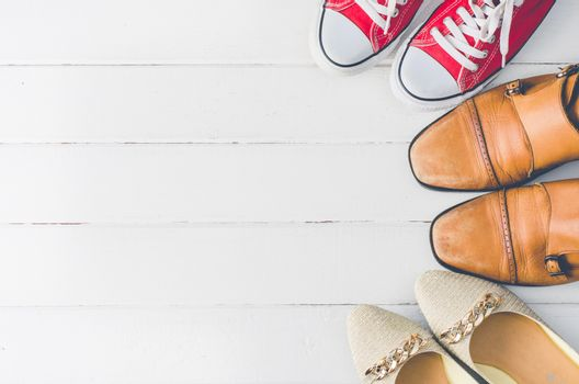 Placed on a white wooden shoe styles - lifestyles