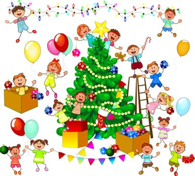Joyful little children decorate the Christmas tree. A group of cheerful, smiling children on a white background.